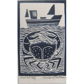 Crab and Boat.Lino cut.
