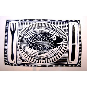 Fish on a dish.Lino cut.