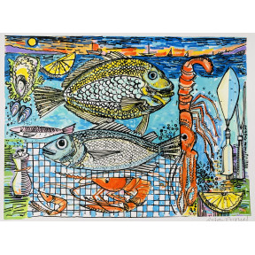 Fish and Langoustine on  blue checked cloth