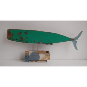 Green Whale with Blue Tail