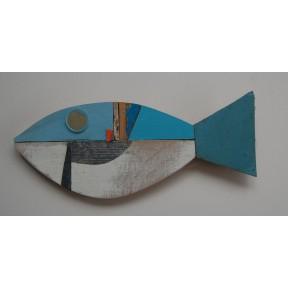 Blue white fish with orange flash