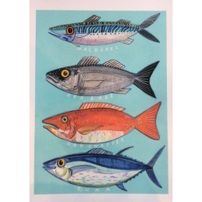 Four Fish ,turquoise background.