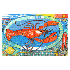 Lobster on blue plate.A3