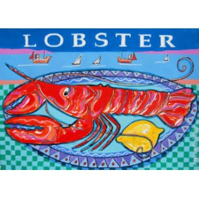 Lobster with green checked tablecloth. A3.