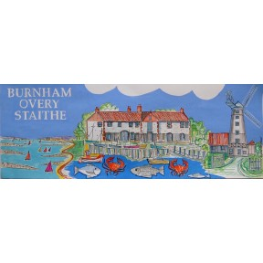 Village print. Burnham Overy Staithe.Long.