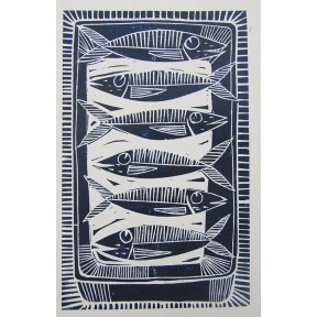 Six Sardines.Lino cut.