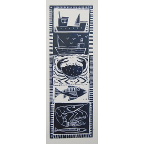 Going Fishing.Lino cut.