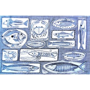Fishes on Dishes. A3.Blue.