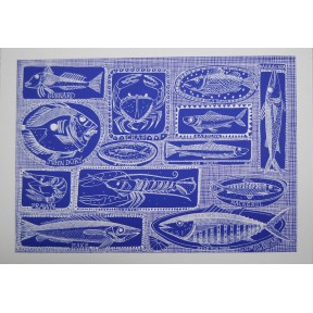 Fishes on Dishes .A3.Bright blue.