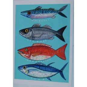 Four Fish . A3. Mackerel, Sea Bass, Red Snapper, Tuna.