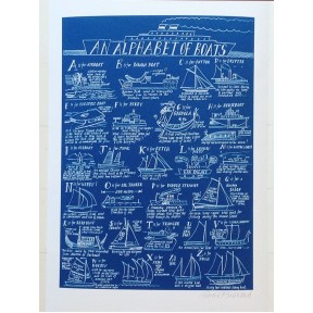 An Alphabet Of Boats. A3 .Blue and White