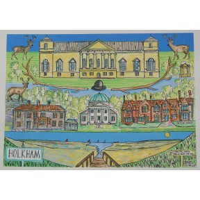 Village print. A3.Holkham .