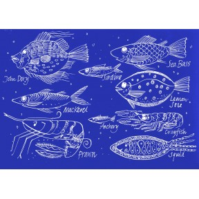 Assorted Fish . Cyanotype