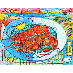 Three prawns on a plate.A3