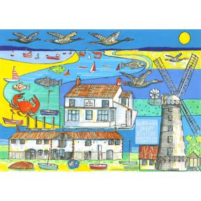 Village print. Burnham Overy Staithe, Norfolk. A3